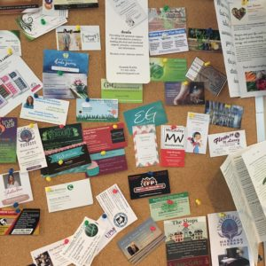 Bulletin board showing business cards for local Shrewsbury, PA businesses