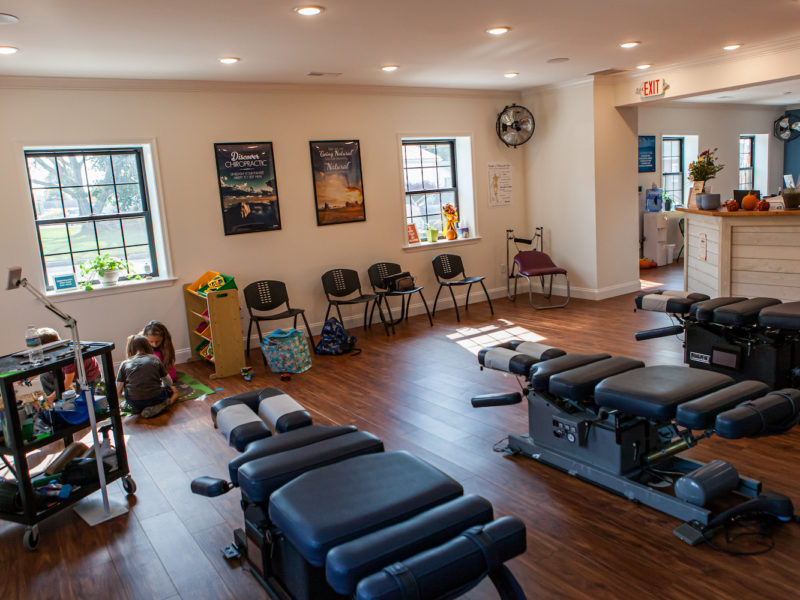 Kitchell Chiropractic Treatment Tables and Waiting Area for Kids