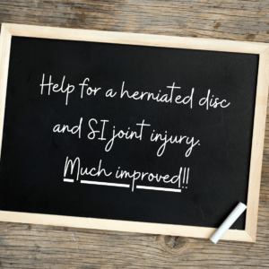 Help for Herniated Disc and SI Joint Injury
